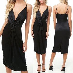 Black Silky Satin Twist Front Midi Slip Dress
